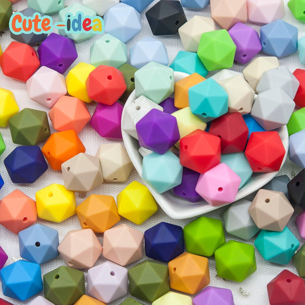 Cute-idea 500pcs Icosahedron Polygon Food Grade Silicone Teething Beads 17mm For Baby Nursing Necklace Pacifier baby products