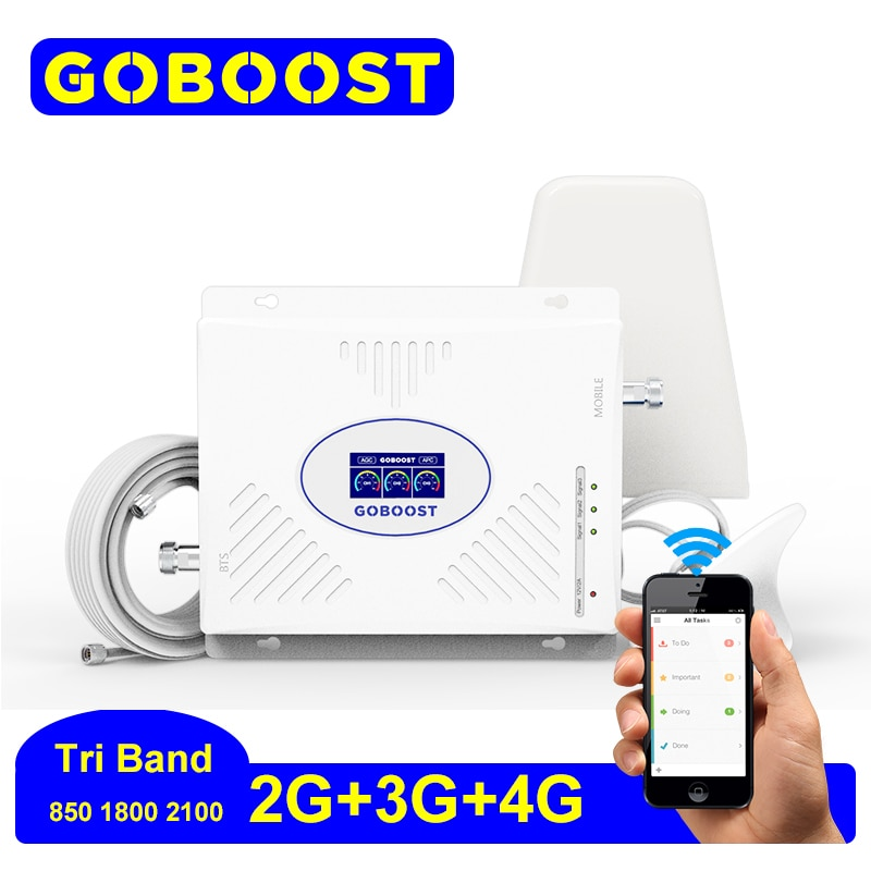 GOBOOST 4g Signal Amplifier Tri Band 850 1800 2100 Mhz Network For Mobile Cellular Repeater Gsm Lte Antennna Signal Booste Set