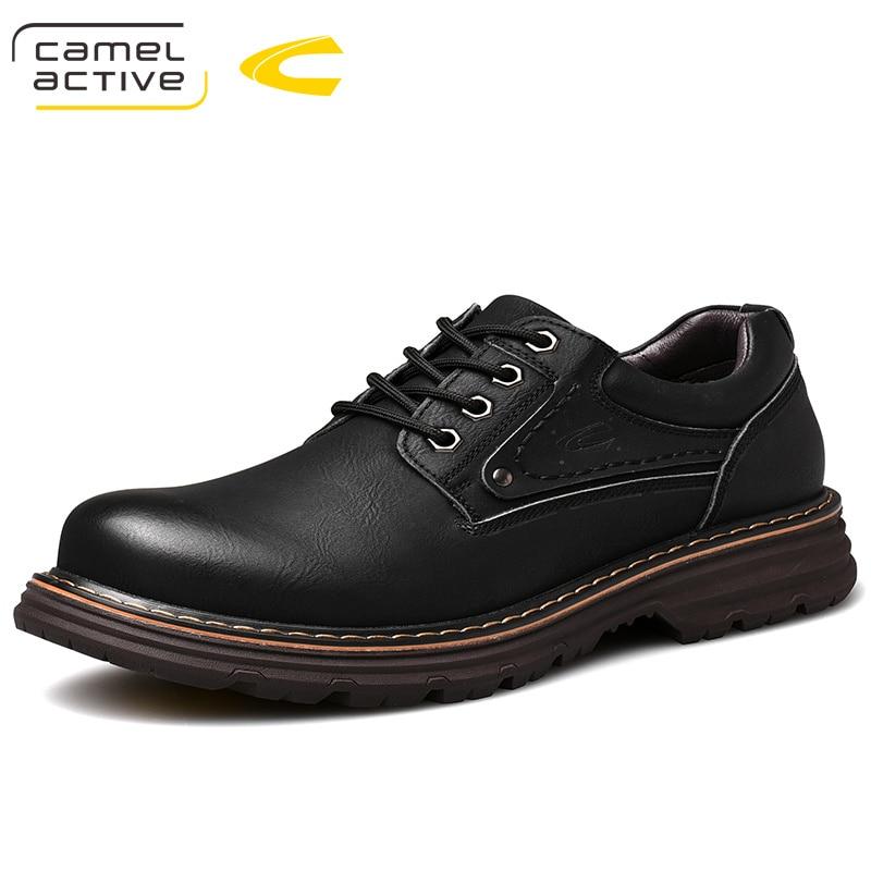 الجمل نشط جديد حذاء رجالي كاجوال جلد طبيعي الخريف الأعمال الزفاف البرية الرجعية لينة فرك انقسام حذاء رجالي جلد