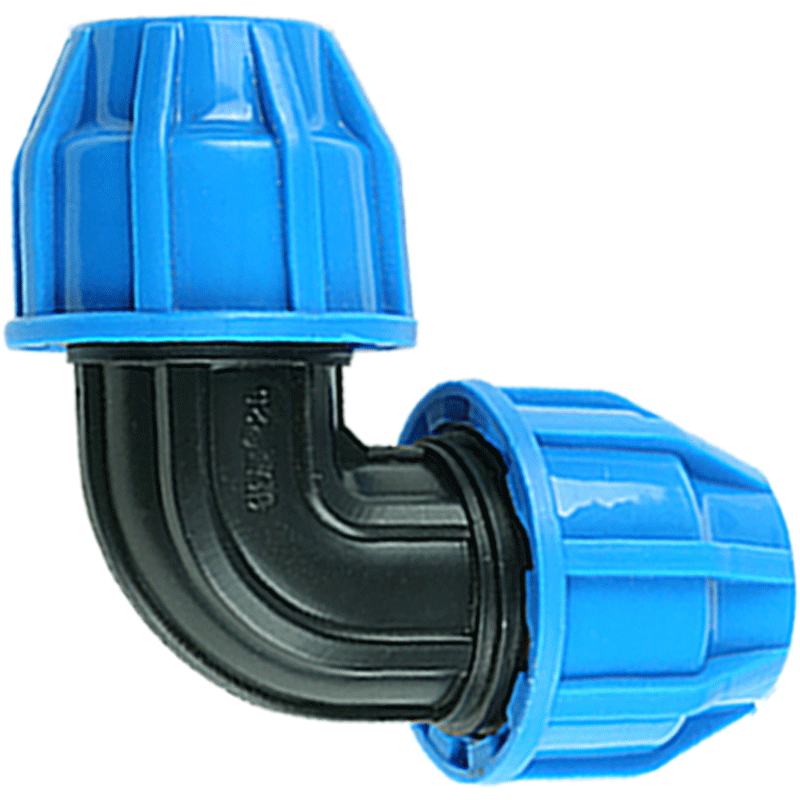25mm plástico PP grueso conector rápido codo azul tapas adaptador PE accesorios de tubería para riego