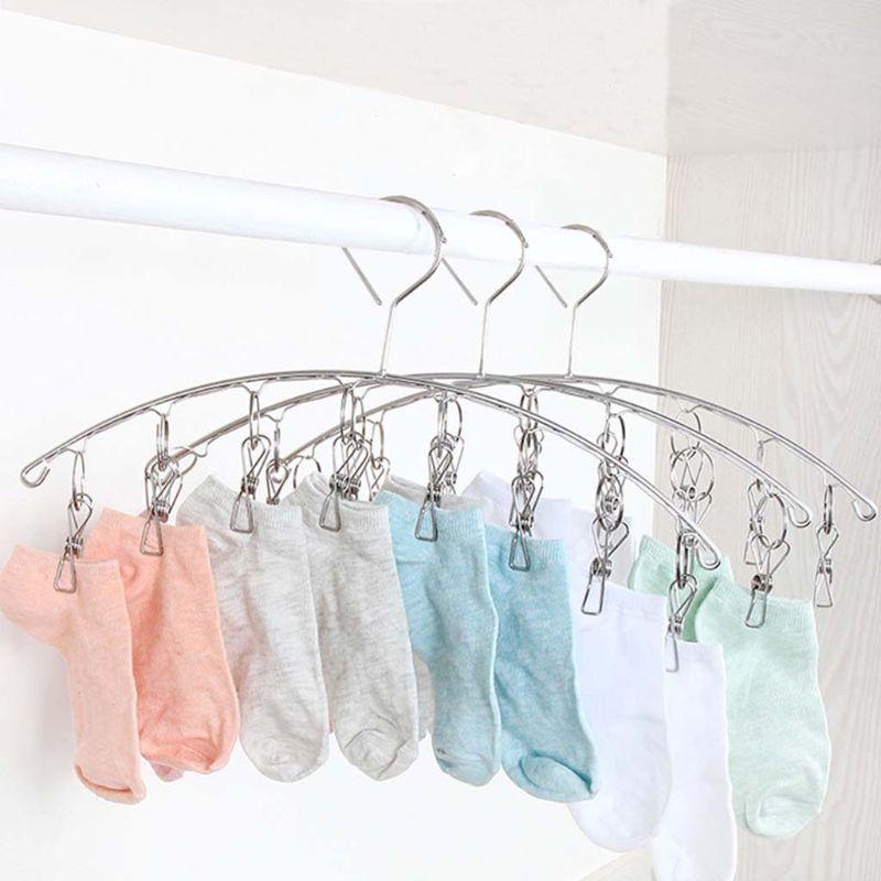 Percha de acero inoxidable a prueba de viento con Clips de 6/8/10/20, soporte para sujetador, calcetín, guante, plancha para pantalones, almacenamiento de ropa, armario