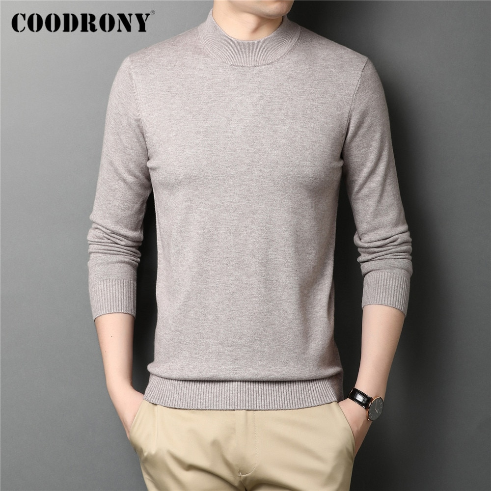 COODRONY мягкий теплый вязаный хлопковый свитер с воротником под горло, пуловер, Мужская одежда, осень-зима, классический однотонный Повседневн...