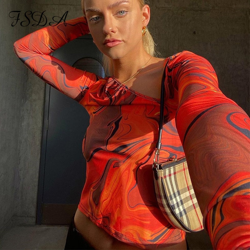FSDA 2021 Tie Dye Print Long Sleeve Crop Top Women Y2K Casual Summer Spring Aesthetic Harajuku Cut Out Orange Sexy T Shirts 90S