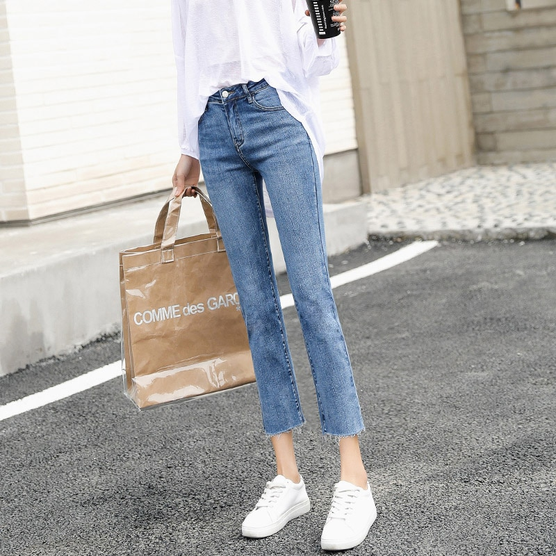 Small Loose Cropped Straight-Leg Jeans for Women 2021 Spring New Short Slimming Cropped Pants Fashio