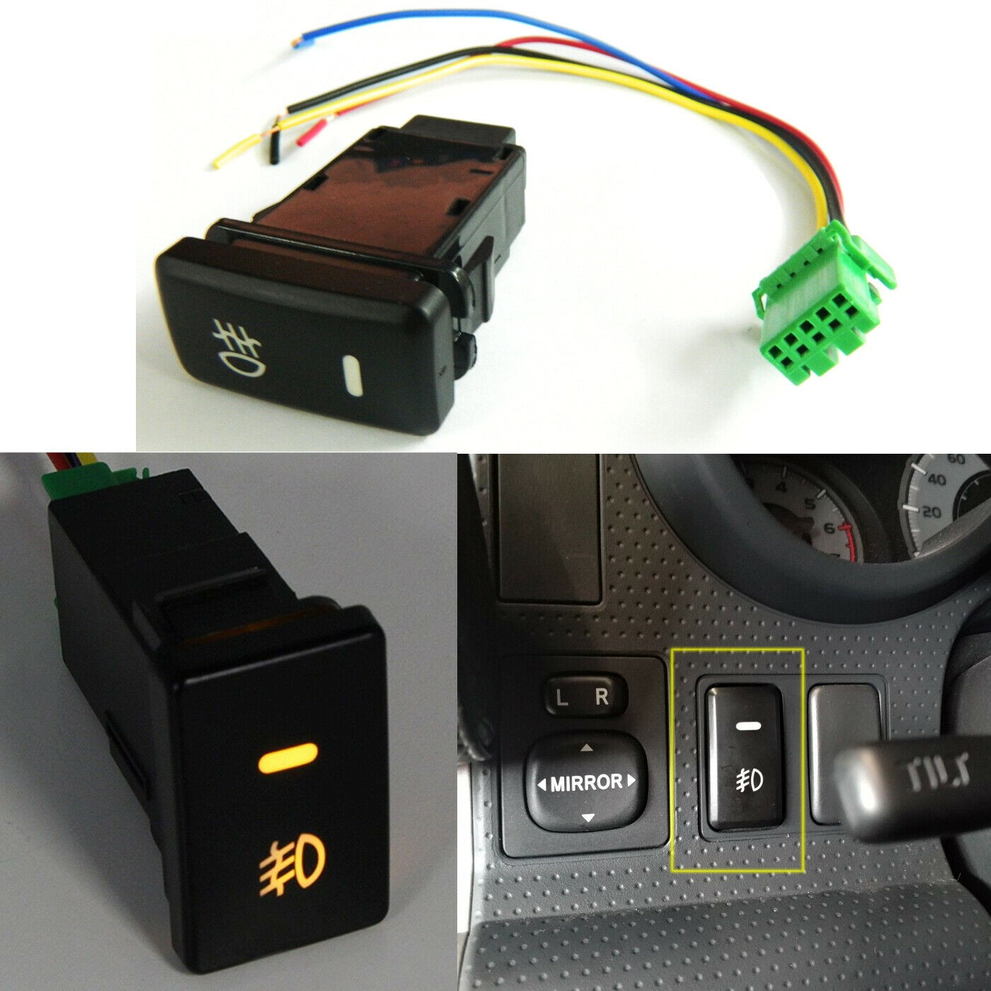 39mm OEM Dual Push On Off Switch Button LED Lightbar Fog Light For Toyota Tacoma Fog Light Symbol