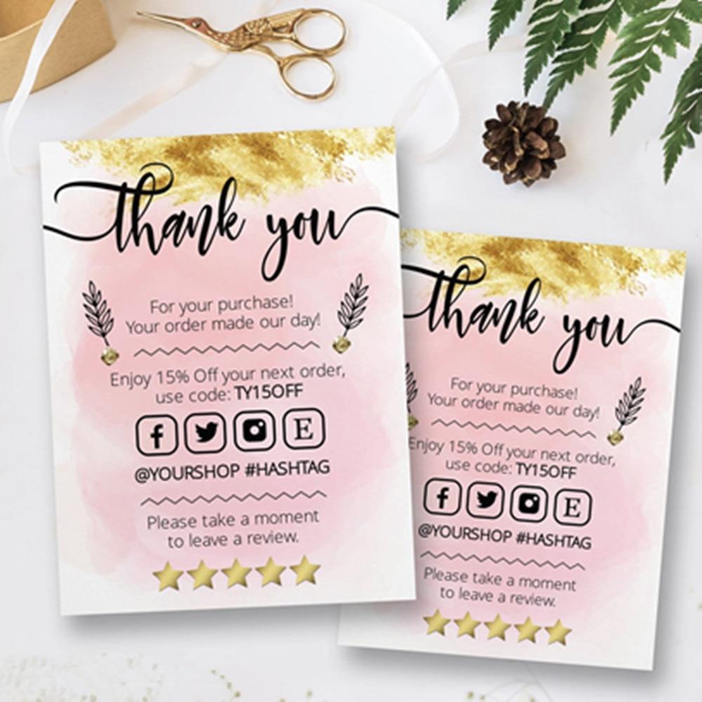 Tarjeta de visita con logotipo personalizado, inserción de paquete de agradecimiento, tarjeta de pedido de negocios, tarjetas de negocios pequeña, tarjeta Medial Social