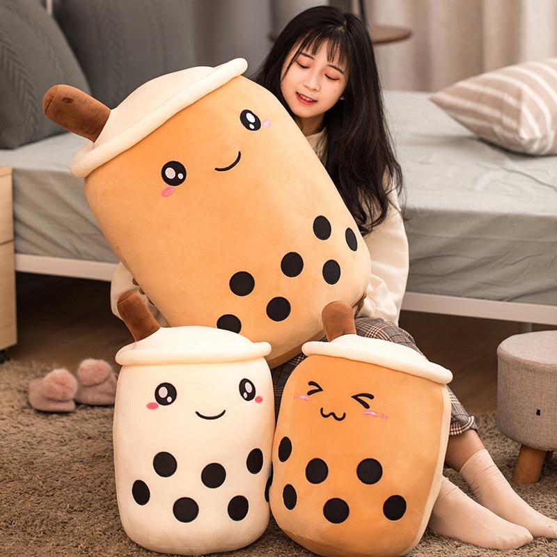 Cute Bubble Tea Stuffed Plush Pillow Cushion Funny Cartoon Boba Plush Toys Milk Tea Kids Toys Birthd