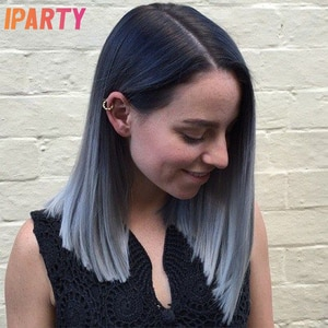 Ombre Black Color Short Straight Lace Front Synthetic Wigs Middle Part High Temperature Fiber Hair Daily Use Cosplay Wig IPARTY
