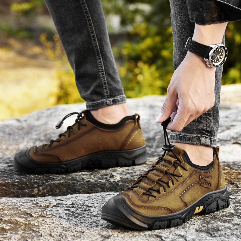 Natural Leather Men Shoes Lace Up Casual Shoes Breathable Outdoor Walking Shoes Men Non-slip Flat Shoe Zapatos Hombre breathable outdoor shoes men breathable lace up casual shoes flats quality comfortable men shoes zapatos hombre