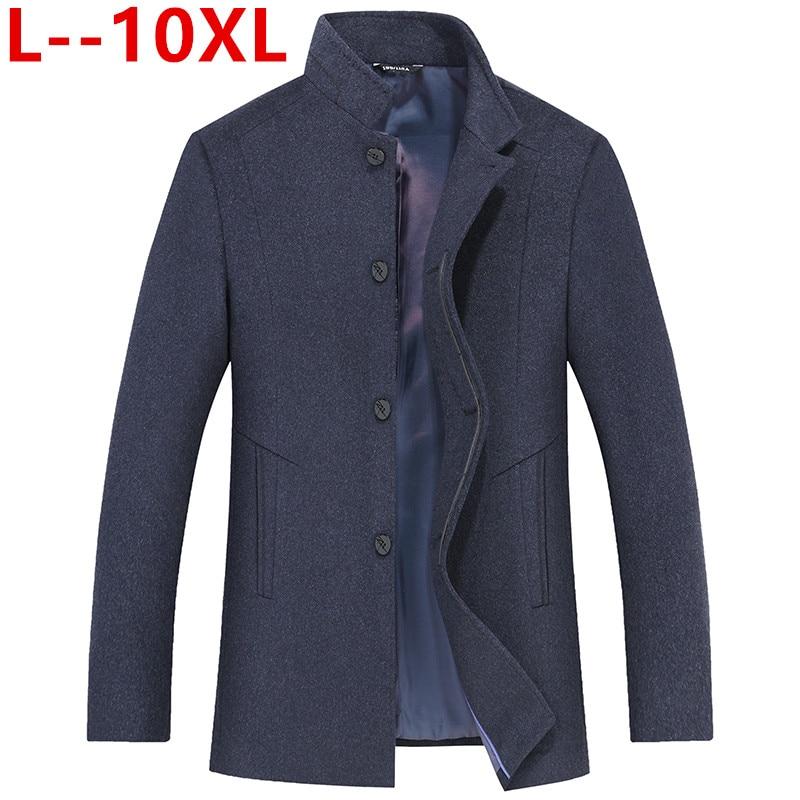 10xl 8xl 6xl casaco de lã de inverno dos homens nova moda cor sólida quente grosso lã mistura lã de ervilha casaco masculino trench coat
