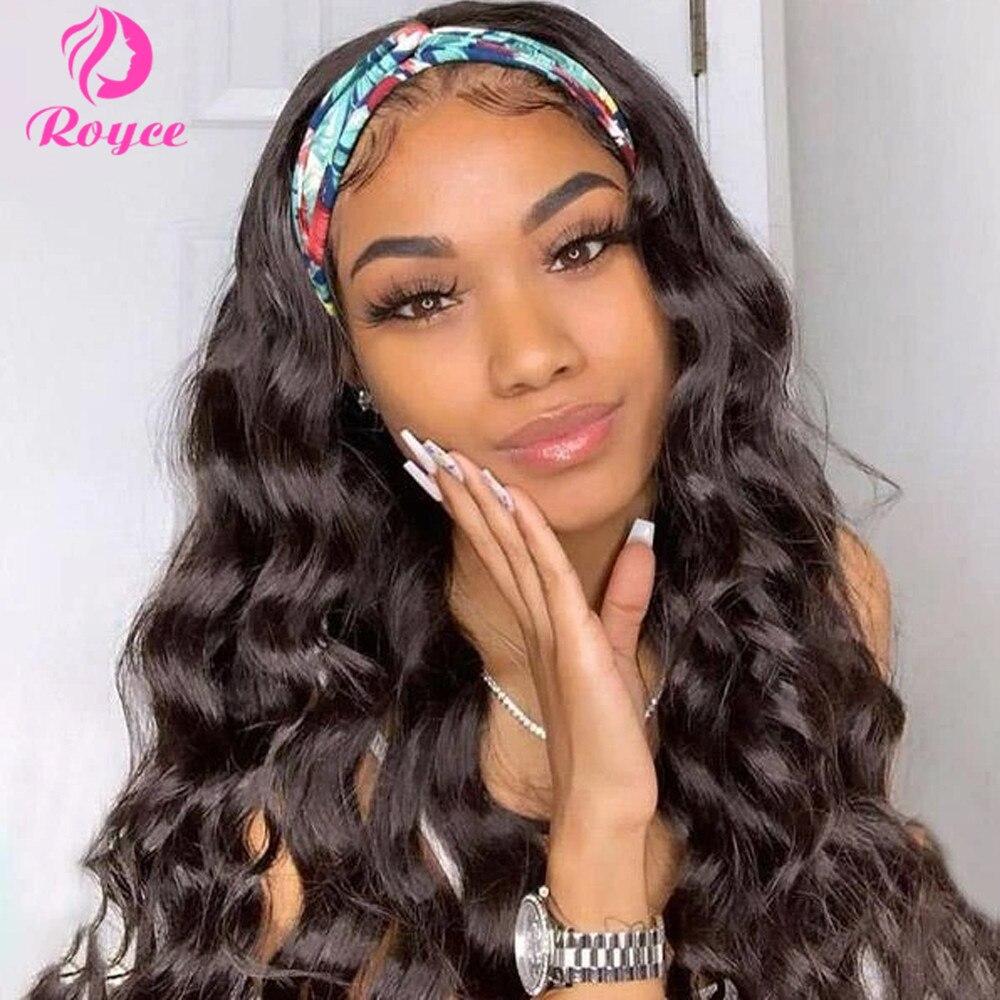 Body Wave Human Hair Wigs With Headband Scarf For Black Women Brazilian Scarf Wig 150% Density Glueless Remy Human Hair Wigs