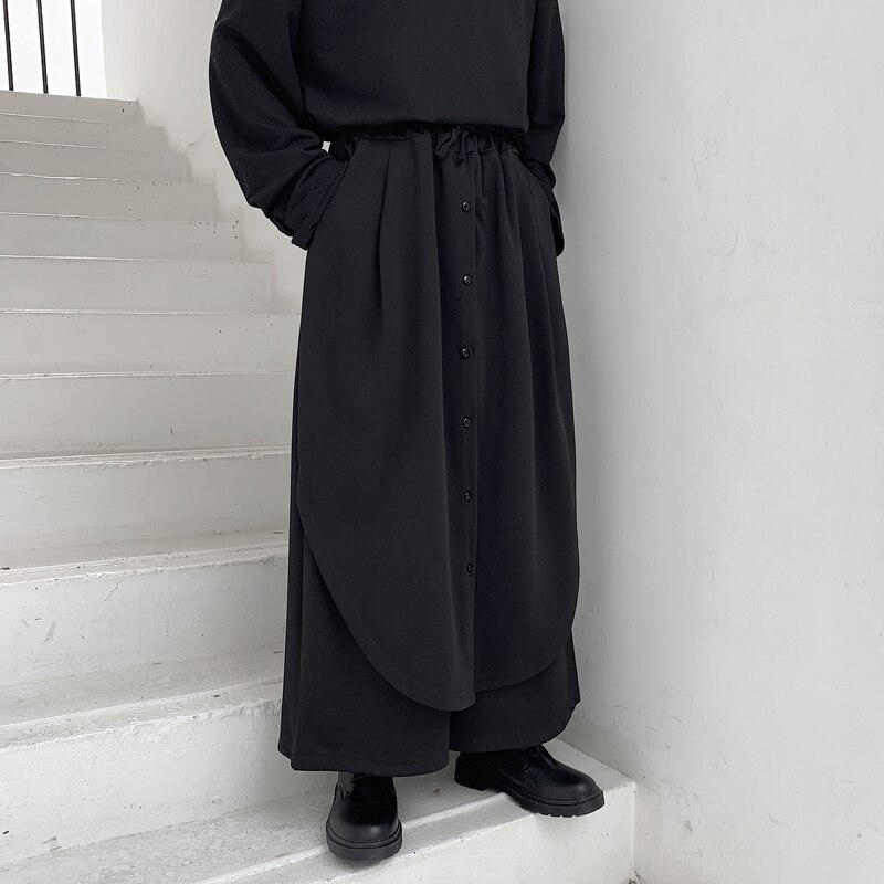 Casual Trousers Wide Legs This Trend Spring Summer Loose Trousers Dark Department Culottes False Men Two Models Mountain Nine Ha