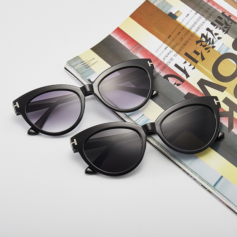 Cat Eye Sunglasses for Women Fashion Sun Glasses Lenses Simple Driving Shades Eyewear Female T-shaped Luxury Sunglasses UV400