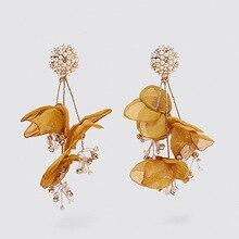 Flatfoosie Bohemian Flower Lace Simulated Pearl Drop Earrings For Women Girl Gift Female Wedding Jewelry Party Statement Earring