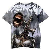 2021 summer new hot style police siren head 3d printed mens and womens t shirt horror game childrens fashion top