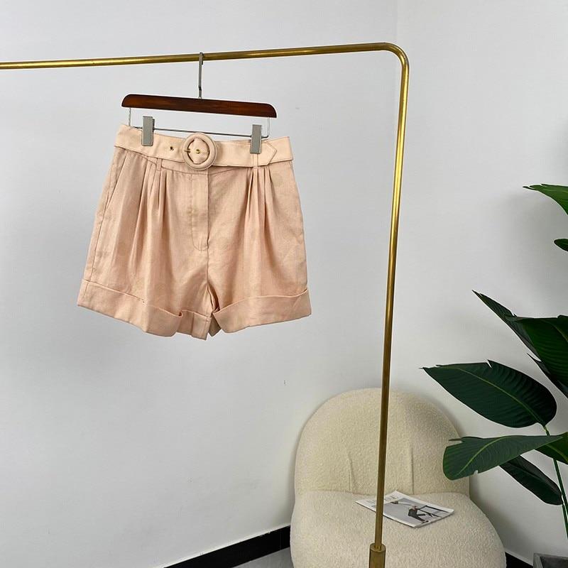 2021 Summer Fashion Women Shorts khaki Light Yellow Dot Print Top Quality Linen Harem Pants