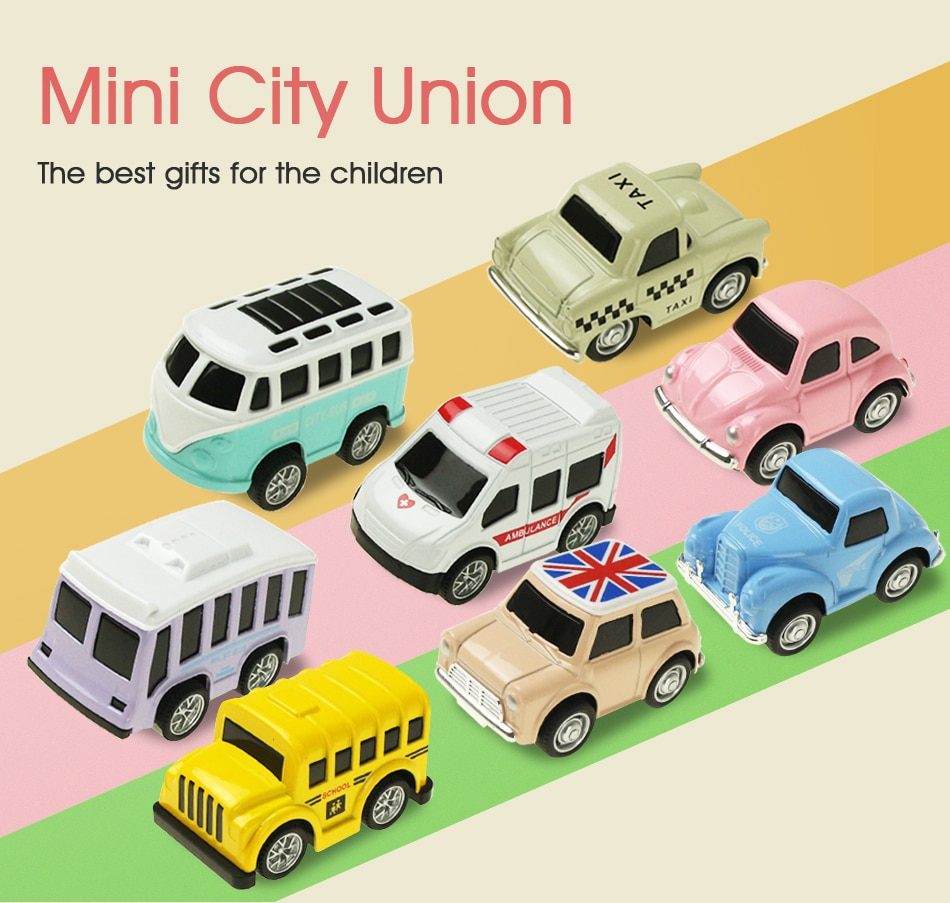 8 PCS/Set Cute Mini Diecast Car Alloy Pull Back Vehicles Model Toy Metal Lovely Colorful Taxi Bus Toys For Kids Gift
