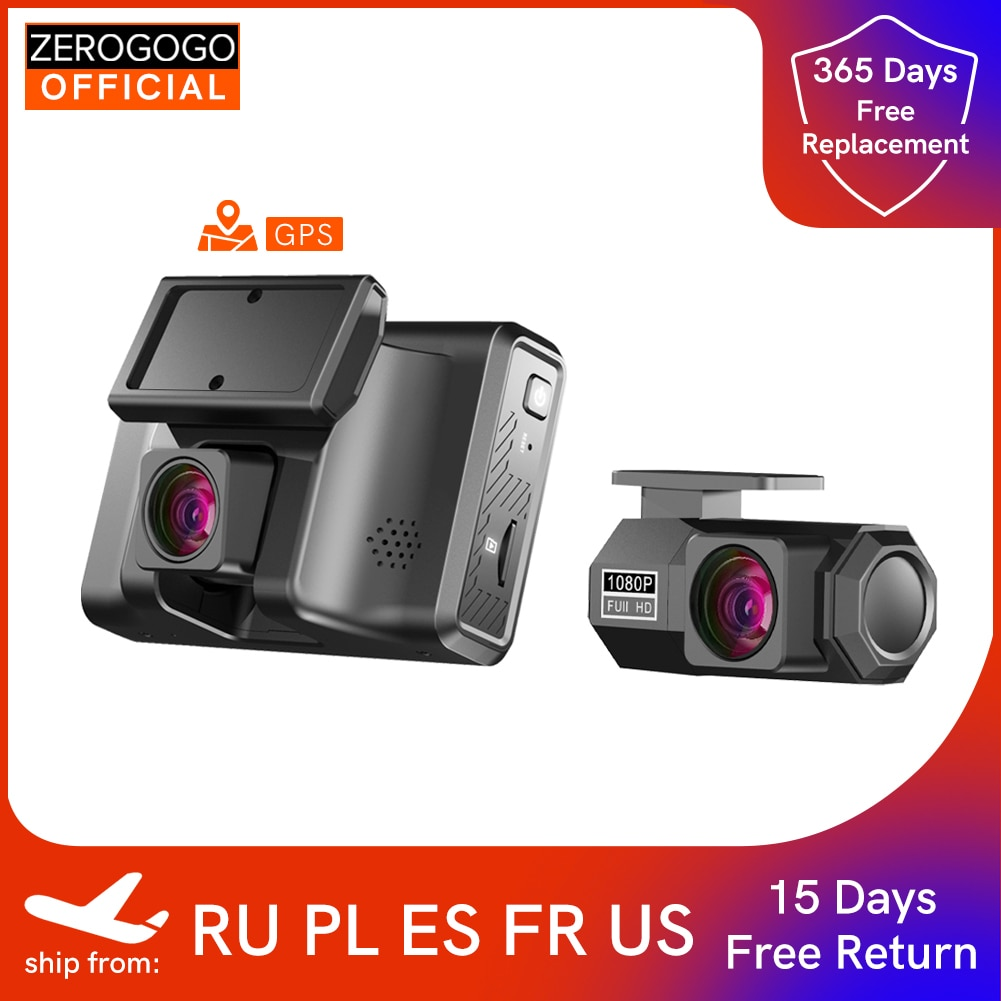 ZEROGOGO 2K Car DVR Video Recorder with GPS Dual Dash Cam Front and Rear Dash Camera 24H Parking Monitor Night Vision 1080P