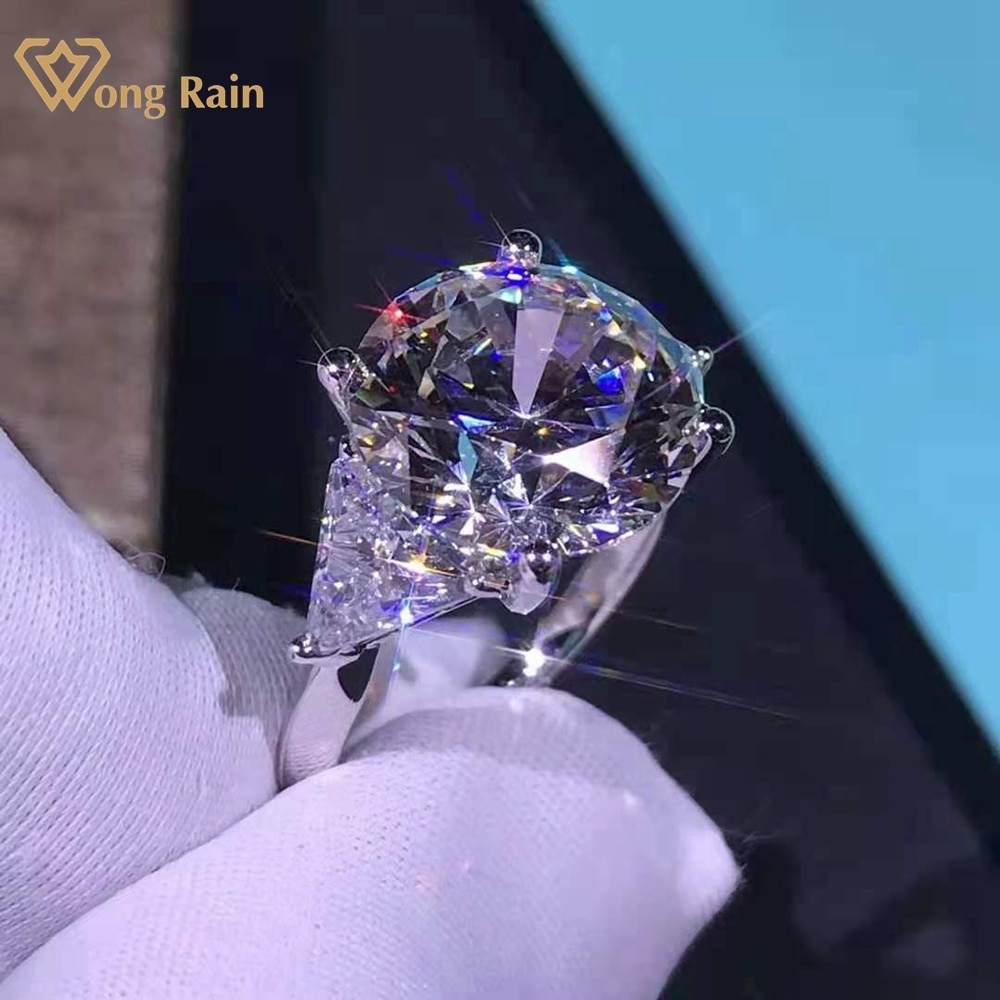 Get Wong Rain Luxury 925 Sterling Silver Round Cut 6 CT D Created Moissanite Gemstone Cocktail Ring Customized Rings Fine Jewelry
