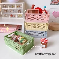 cute tabletop storage organizer tv remote control holder makeup cosmetic foldable storage basket office stationery pen boxes