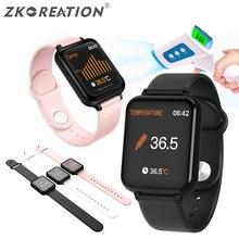 ZKCREATION B57T Fitness Tracker Smart-Armband Heart Rate Monitor Messen Körper Temperatur Smart Uhr Frauen Weibliche Wasserdicht
