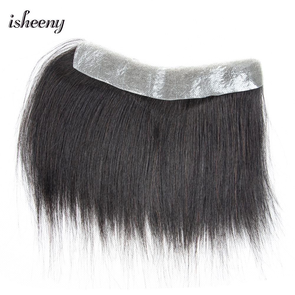 Isheeny 1.5x15cm Men Hairline Toupee V Loop Brazilian Virgin Remy Human Hair Toupee Thin PU Skin Hairpieces Replacement System