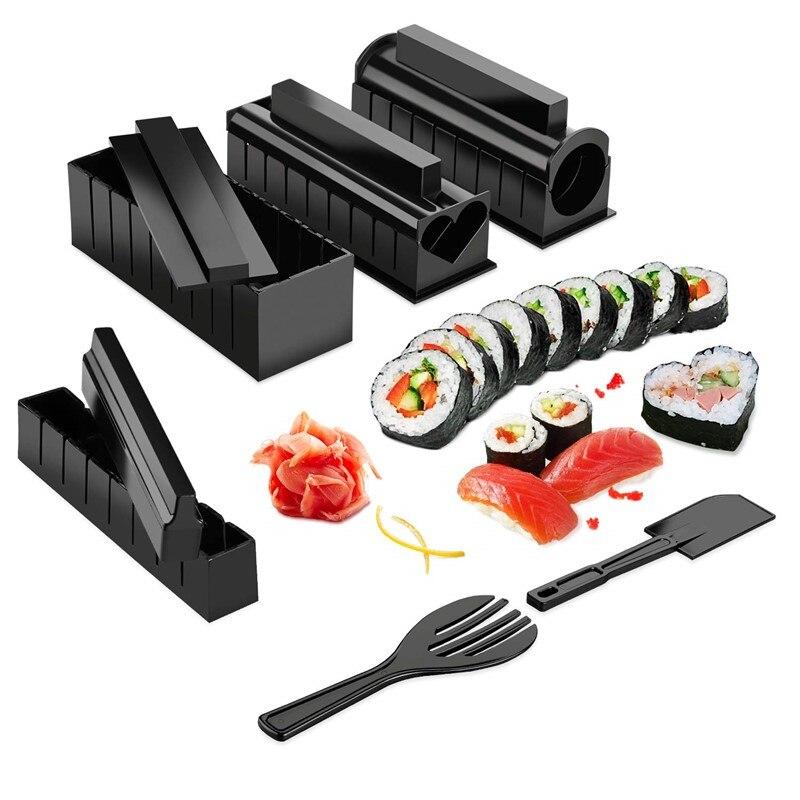 10 Pcs/Set DIY Sushi Making Kit Roll Sushi Maker Rice Roll Mold Kitchen Sushi Tools Japanese Sushi Cooking Tools Kitchen Tools