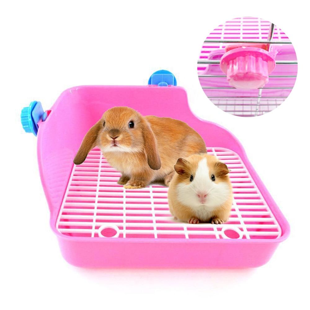 Small Pet Toilet Pet Rabbit Chinchilla Dutch Pig Square Anti-Spray Urine Plastic Basin for Rabbit Chinchilla Guinea Pig Mole
