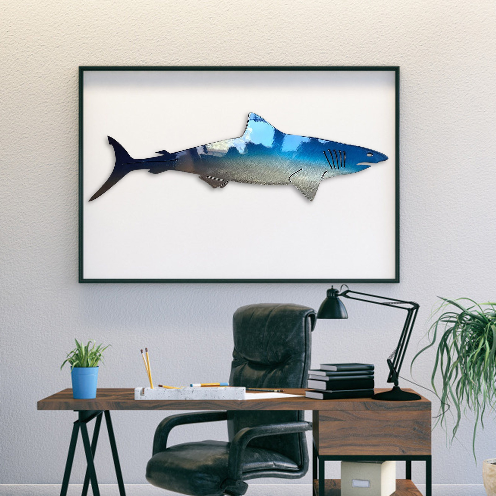 New Creative Wall Hanging Jewelry Sharks Figurine Home Decor Art Decoration Living Room Bedroom Accessories