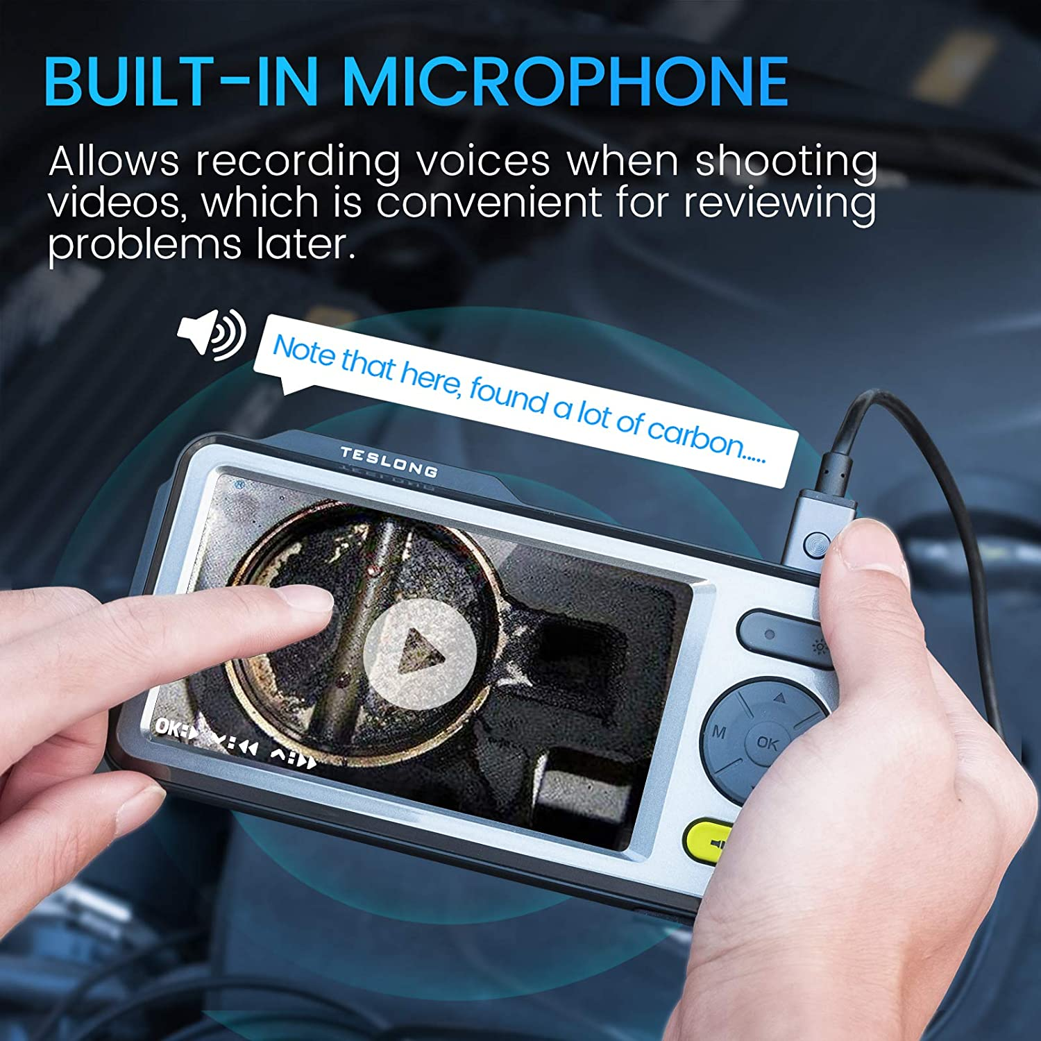 5mm Dual Camera Handheld Endoscope with 5 inch HD IPS Screen Endoscope Camera IP67 Waterproof Cable with Sound Travel Case