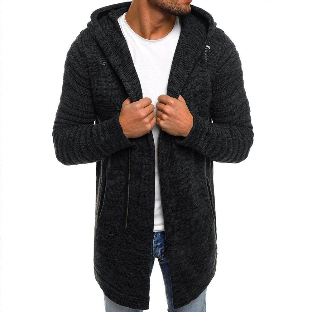 Мужской свитер MISSKY, вязаный кардиган свитер на молнии, Теплое повседневное пальто средней длины, Осень-зима 2019