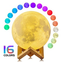 Moon Lamp 3D Printing Children's Night Light 16/2 Color Change Touch and Remote Control Galaxy LED M