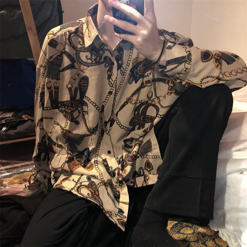 Vintage Printed Shirt Men's Loose Hong Kong Shirt Coat Long Sleeve Korean Style