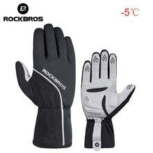 ROCKBROS unisexe hiver gants de cyclisme éponge rembourré thermique doigt complet vélo gants coupe-vent hommes Sports de plein air vélo gant