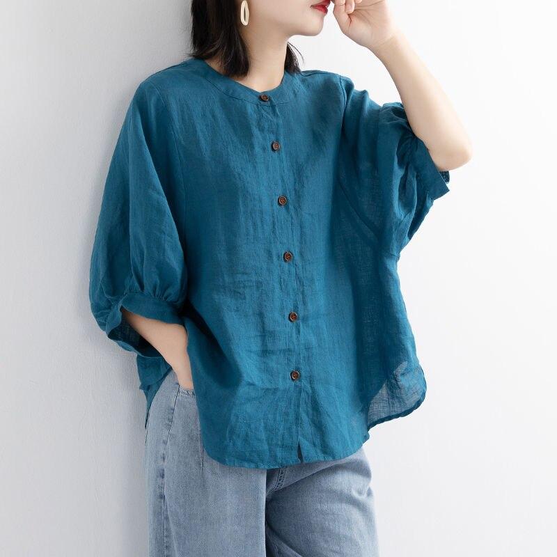 Рубашка женская льняная с пышными рукавами, свободная винтажная блузка с коротким рукавом, Повседневная Блузка, большие размеры, лето 2020 | Женская одежда | АлиЭкспресс