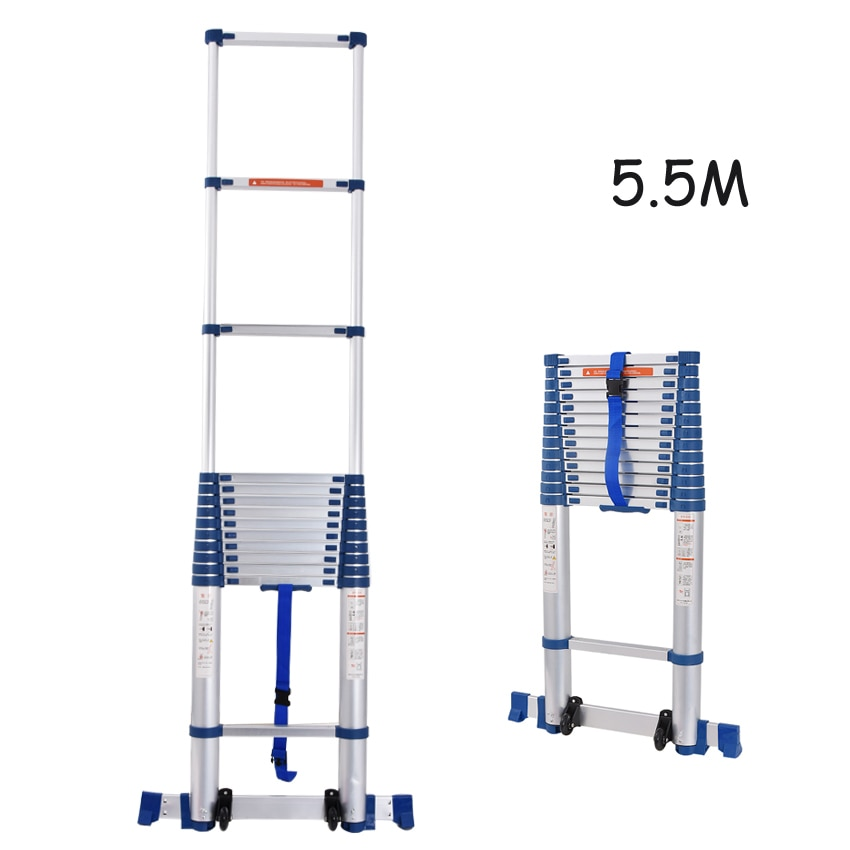 5.5M Aluminium Alloy Thicken Single-sided Straight Ladder JJS511 Portable Household Extension Ladder 14-Step Engineering Ladder