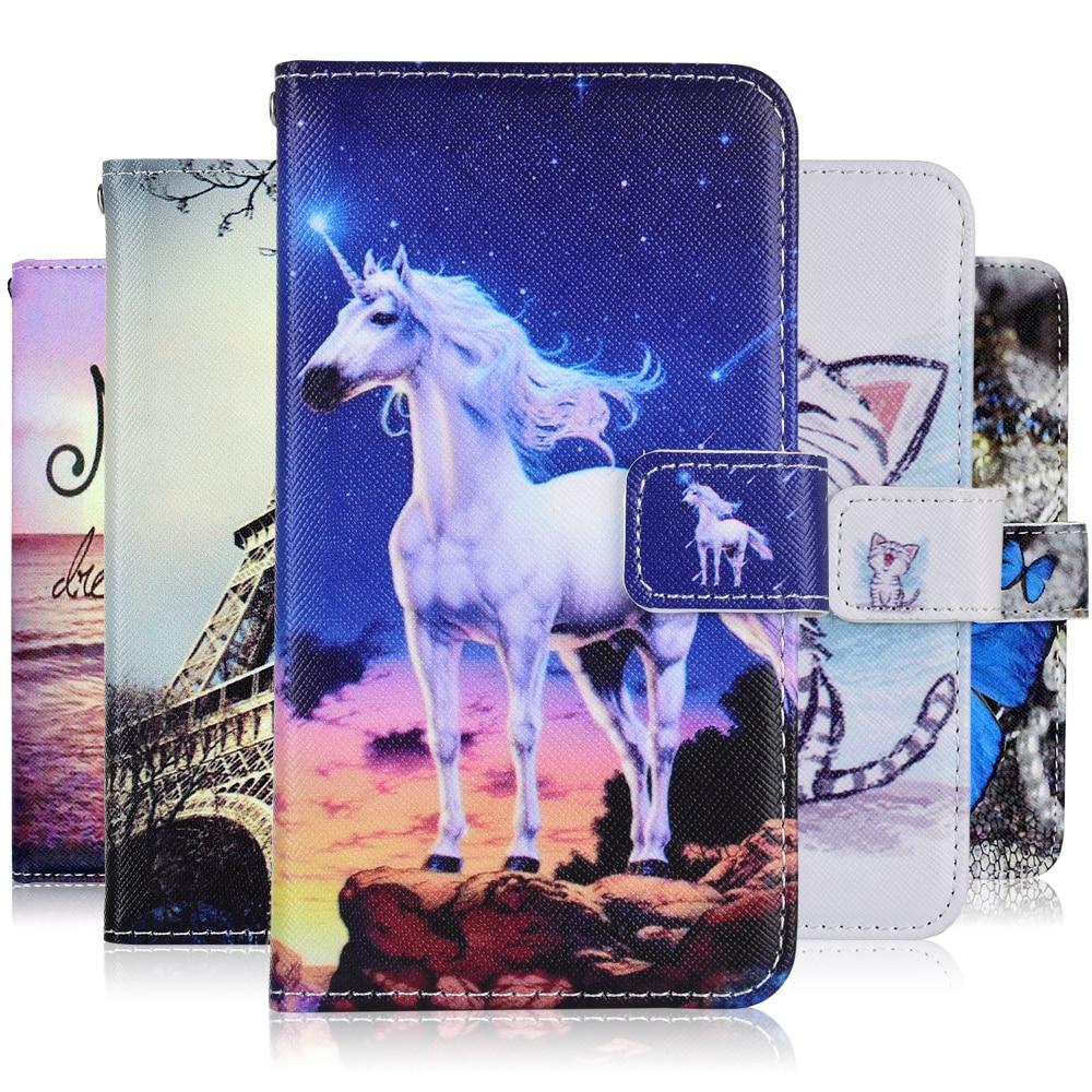 Cartera de dibujos animados TPU funda para Samsung Galaxy A3 A5 A6 A8 Plus 2016 2017 2018 PU cuero unicornio gato Kickstand cubierta de libro