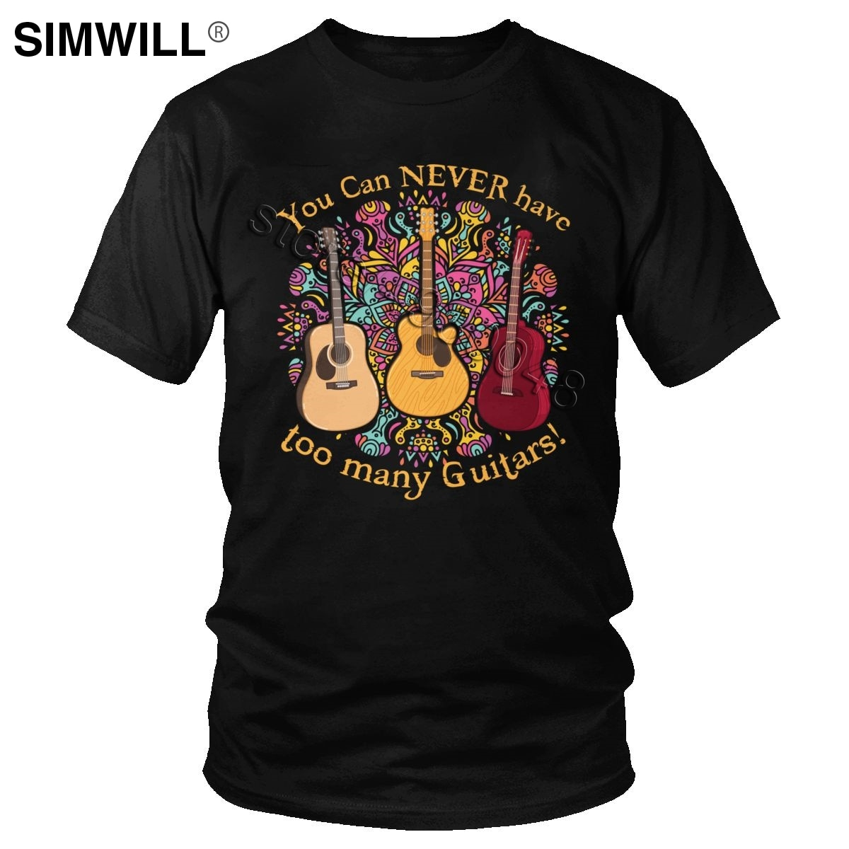 Fashion You Can Never Have Too Many Guitars T-Shirt Men Casual Short Sleeve Cotton Tee Graphic Print T Shirt for Guitarist Gift