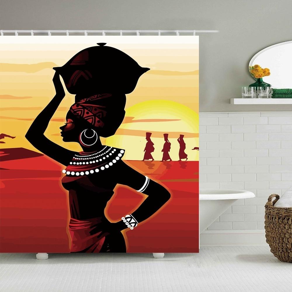 Cortinas de ducha impresas para mujeres indias, tela de cortina de baño, impermeable, macramé, cortina de ducha, decoración moderna para el hogar