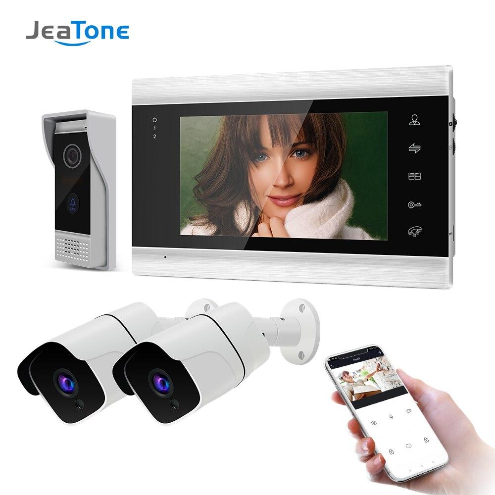 Jeatone-هاتف فيديو لاسلكي ذكي بشاشة مقاس 7 بوصات وواي فاي وكاميرا مراقبة بدقة 2 × 720 بكسل واتصال داخلي عبر الفيديو IP