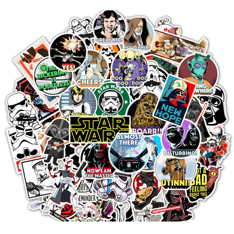 10/50Pcs Disney Star Wars Stickers Waterproof PVC Laptop Guitar Skateboard Luggage Stationery Helmet Decals Sticker Kids Toys