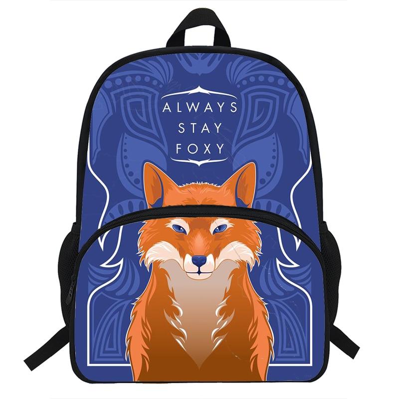 حقيبة ظهر عالية الجودة بطبعة الثعلب ، حقيبة مدرسية للمراهقين ، للأولاد والبنات ، للسفر