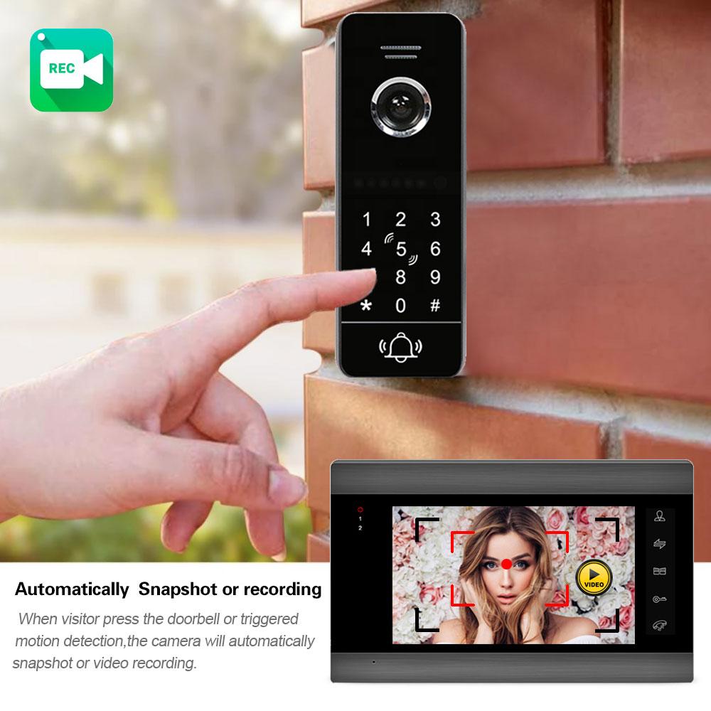 Wireless WiFi 7 Inch Video Intercom for Home IP Video Doorbell Password Keypad/RFID Card APP Unlock  Intercom System enlarge