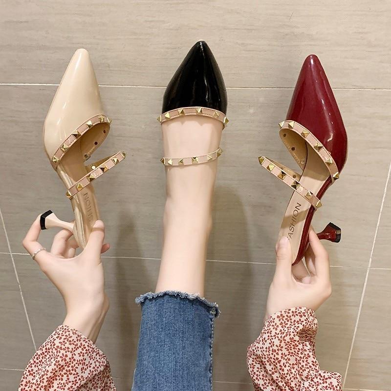 Zapatillas de mujer Baotou 2020, zapatillas hípster combinables para mujer, zapatillas aumentadas de sauce con tacón alto