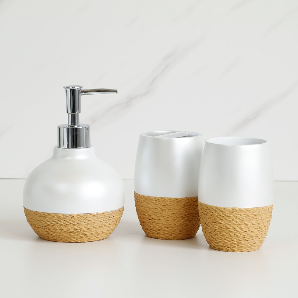 Bathroom Accessories Set Exquisite Relief Style Soap Dispenser Lotion Dispenser Soap Dish Toothbrush Holder Toilet Brush Holder enlarge