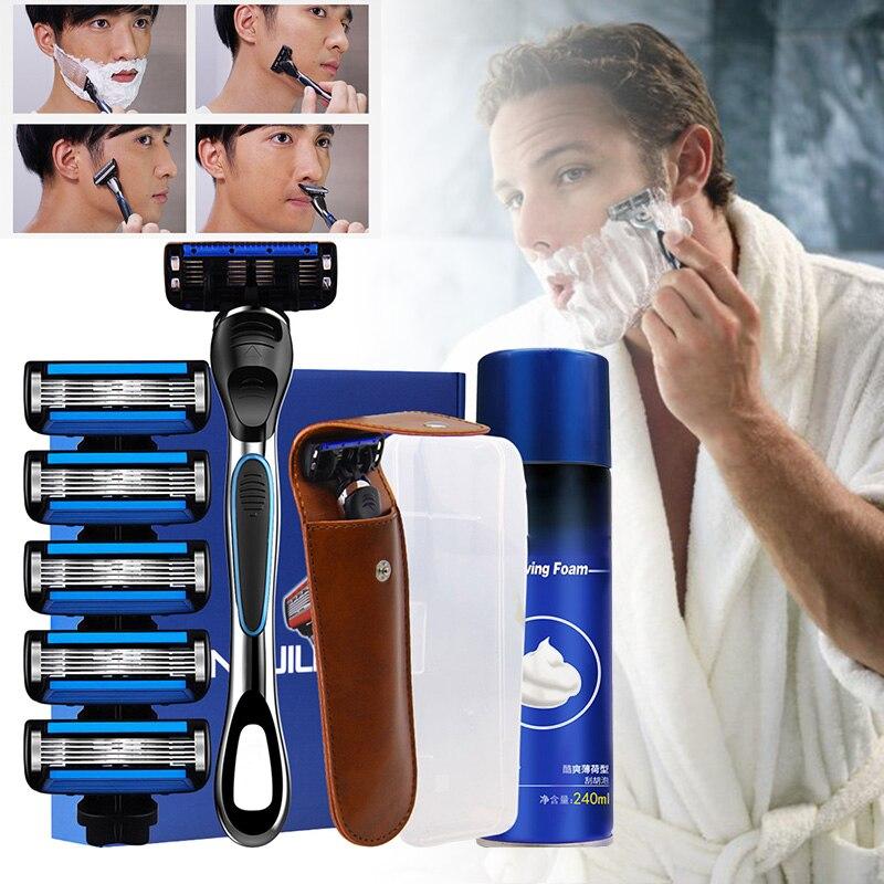 Venta al por mayor, maquinilla de afeitar Manual para hombres, de 5 capas afeitadora, cuidado facial seguro, Kit de herramientas de afeitar para Barba con espuma para Barba M3