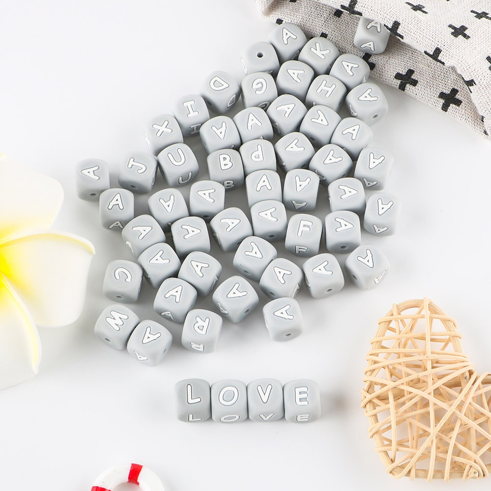 Sunrony 500pcs Gray Letter Silicone Beads 12mm Baby Teether Beads Chewing Alphabet Bead For Personalized Name DIY Teething enlarge