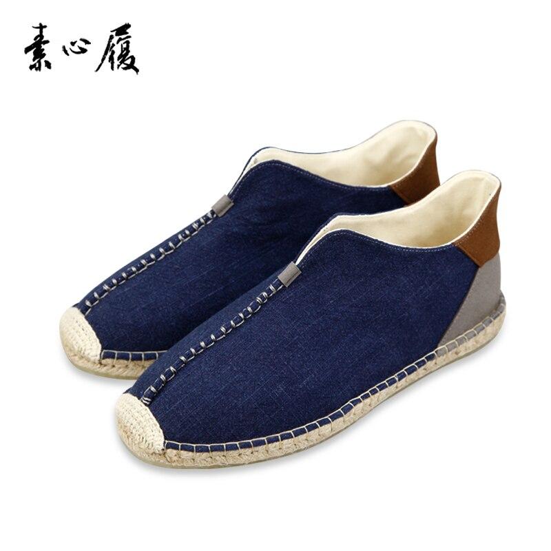 Мужские холщовые кроссовки в китайском стиле, повседневная обувь в стиле ретро, удобные прогулочные туфли на плоской подошве