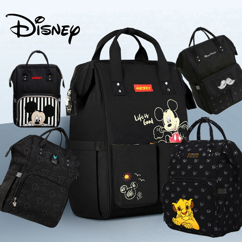 Disney Diaper Bag Backpack For Moms Baby Bag Maternity For Baby Care Nappy Bag Travel Stroller USB Heating Send Free 1Piar Hooks