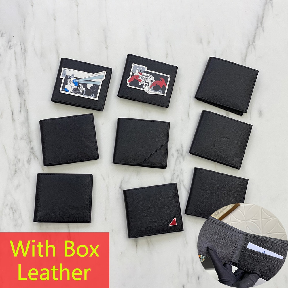 Luxury Brand High Quality Men Leather Wallet Short Two Fold Credit Card Case Twill Cowhide Pocket Co
